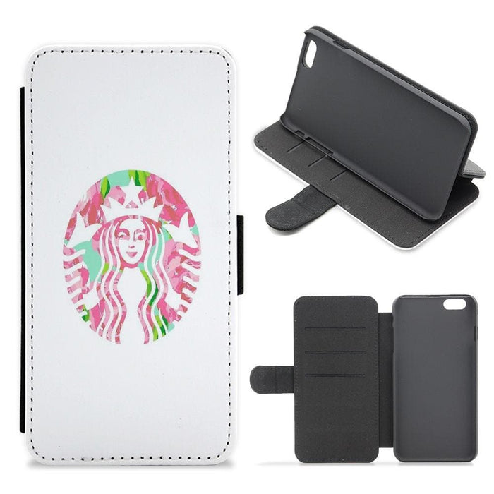 Pink Starbucks Logo Flip / Wallet Phone Case - Fun Cases