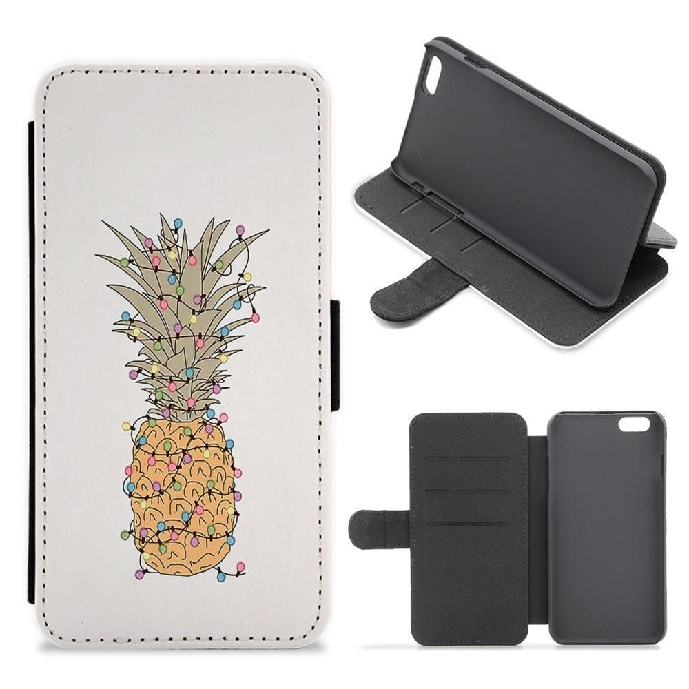 Pinapple Christmas Lights Flip / Wallet Phone Case - Fun Cases