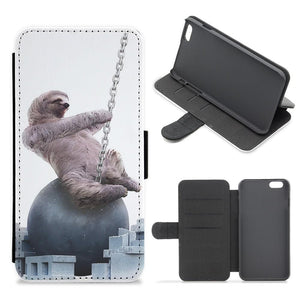 Wrecking Ball Sloth Flip Wallet Phone Case - Fun Cases