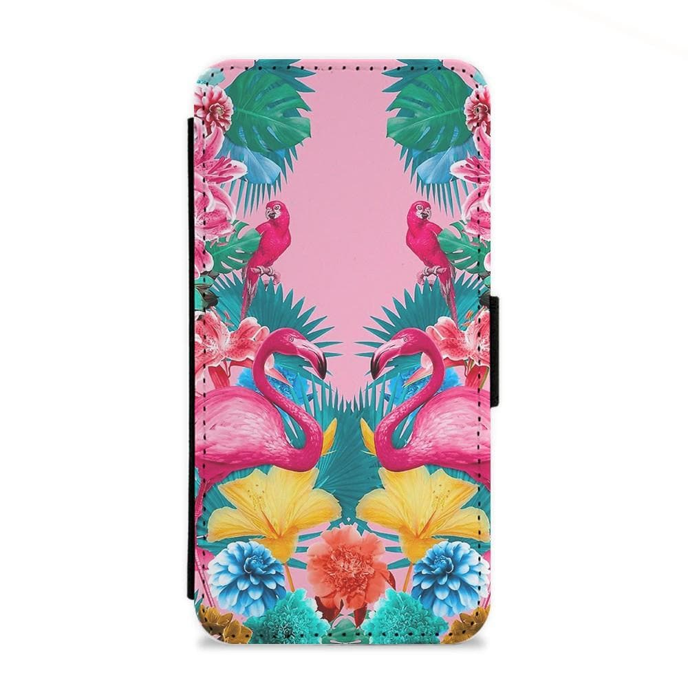 Flamingo and Tropical garden Flip Wallet Phone Case - Fun Cases