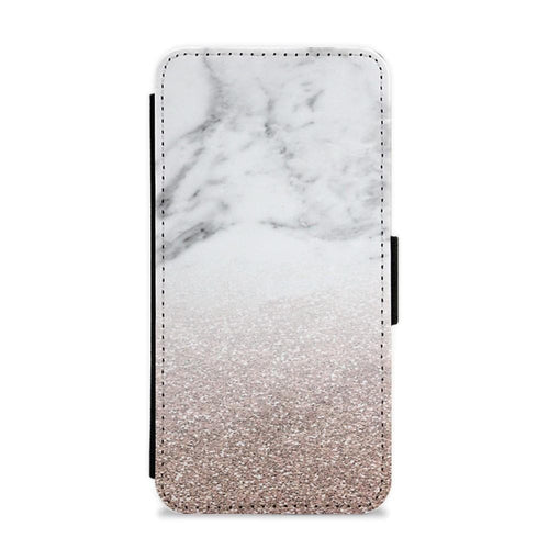 Rose Gold Glitter & Marble Flip / Wallet Phone Case - Fun Cases