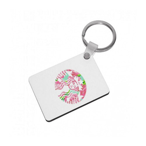 Pink Starbucks Logo Keyring - Fun Cases