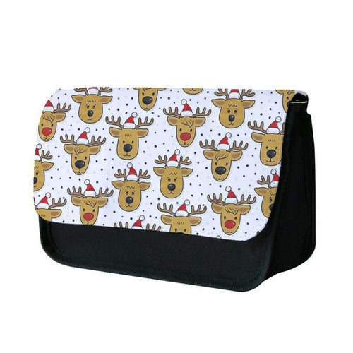 Reindeers In Santa Hats Pattern Pencil Case