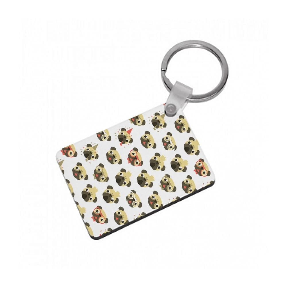 Pug Life - Pug Pattern Keyring - Fun Cases