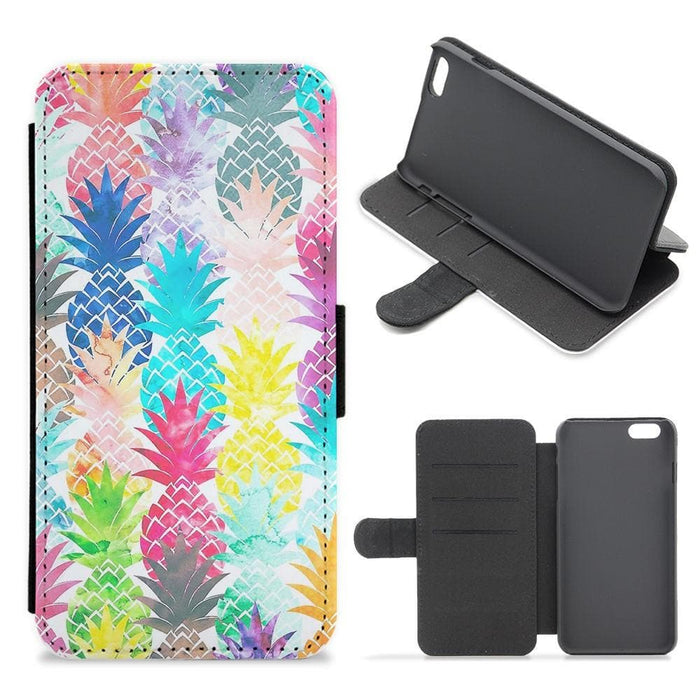 Watercolour Pineapple Pattern Flip Wallet Phone Case - Fun Cases