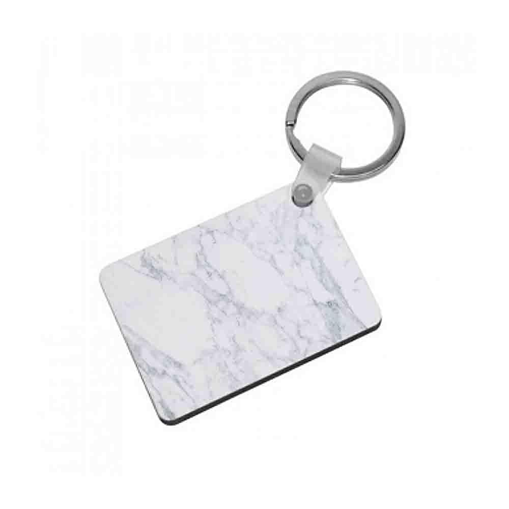 White Marble Pattern Keyring - Fun Cases