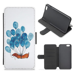 Dachshund And Balloons Flip Wallet Phone Case - Fun Cases