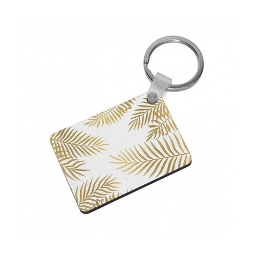 Gold Palm Leaf Pattern Keyring