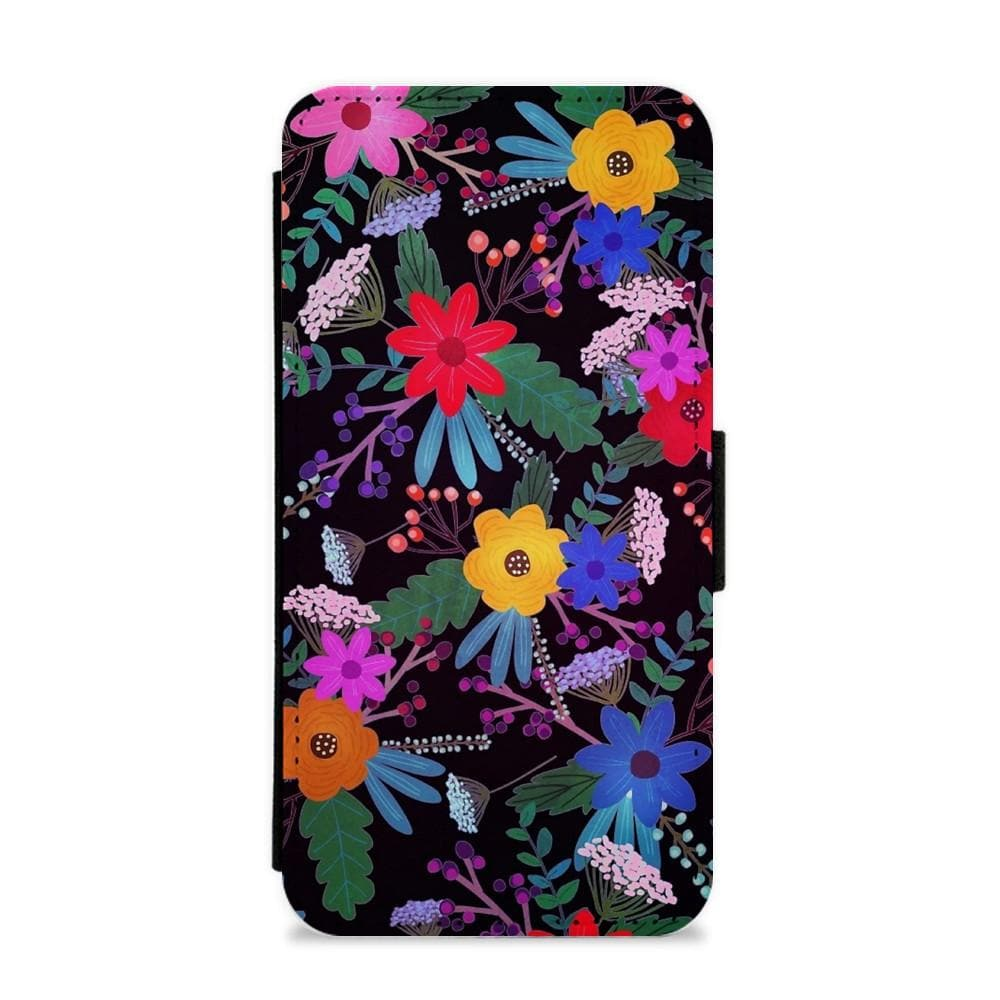 Black & Colourful Floral Pattern Flip / Wallet Phone Case - Fun Cases
