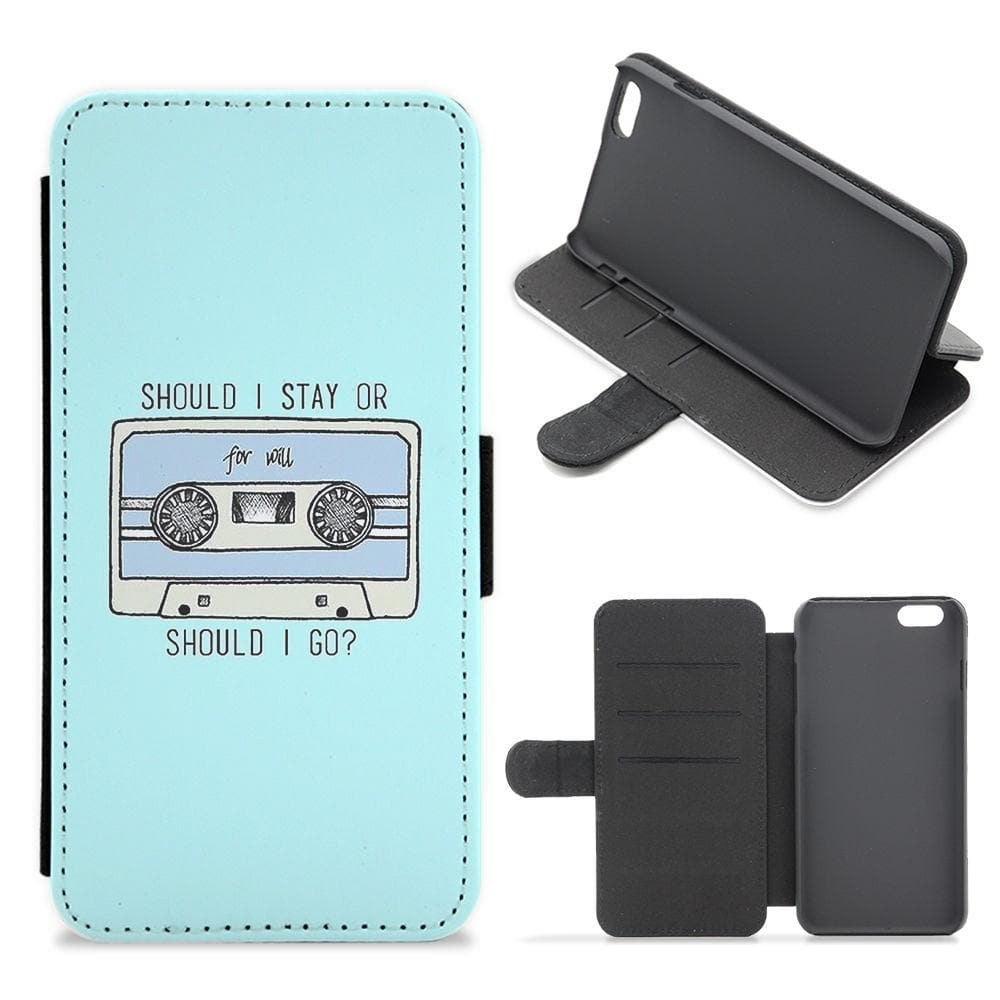 Should I Stay Or Should I Go Cassette - Stranger Things Flip Wallet Phone Case - Fun Cases