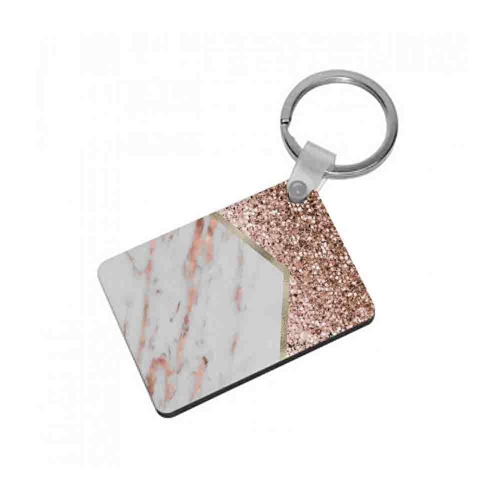 Rose Gold Marble & Glitter Keyring - Fun Cases