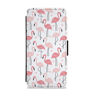 White & Pink Flamingo Pattern Flip / Wallet Phone Case - Fun Cases