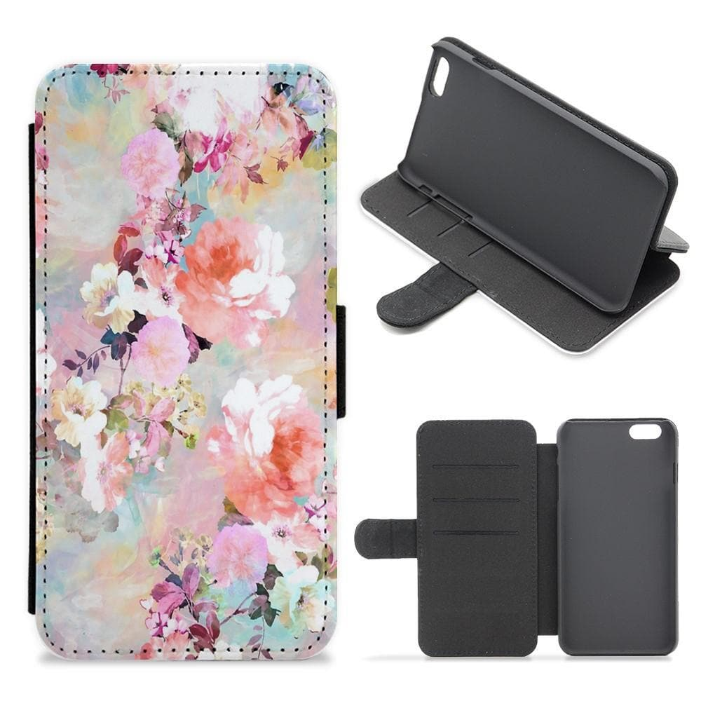 Pastel Pink Floral Pattern Flip / Wallet Phone Case - Fun Cases