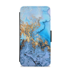 Sea Blue and Gold Marble Flip / Wallet Phone Case - Fun Cases