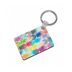 Watercolour Pineapple Pattern Keyring - Fun Cases