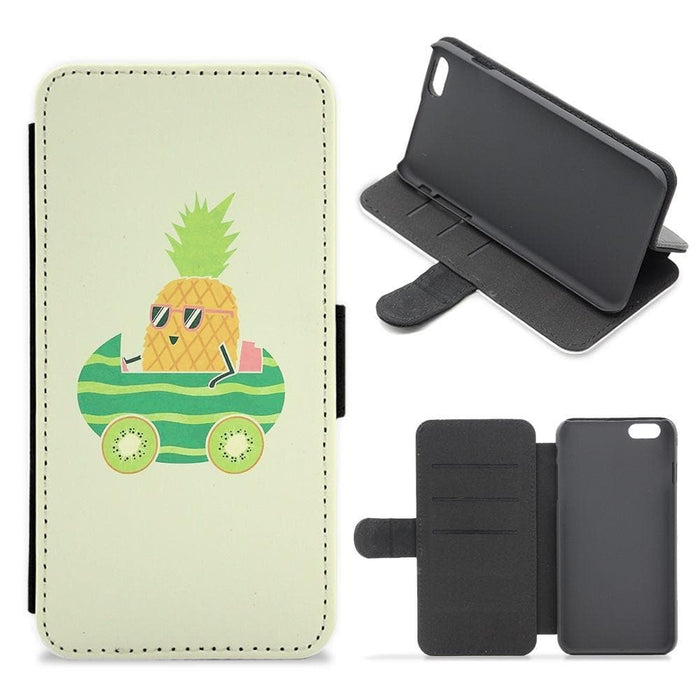 Summer Drive Pineapple Flip Wallet Phone Case - Fun Cases