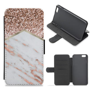 Rose Gold Marble & Glitter Flip / Wallet Phone Case - Fun Cases