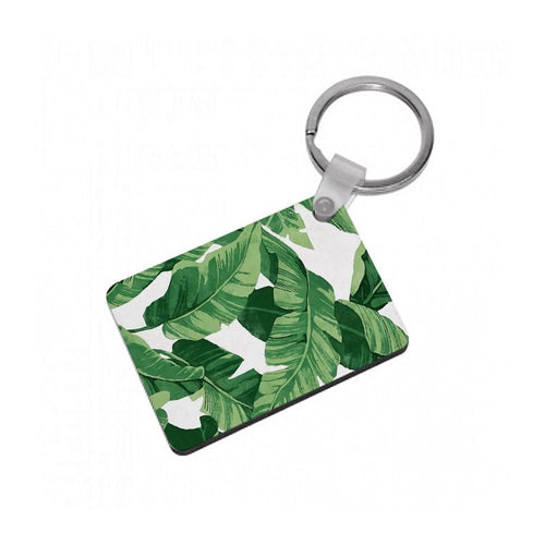 Tropical Banana Leaf Pattern Keyring