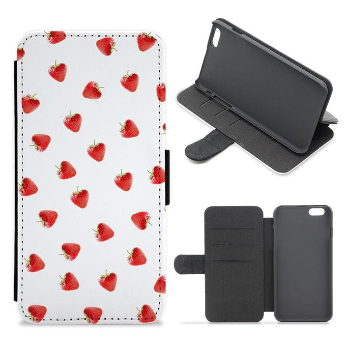 Strawberry Pattern Flip / Wallet Phone Case - Fun Cases