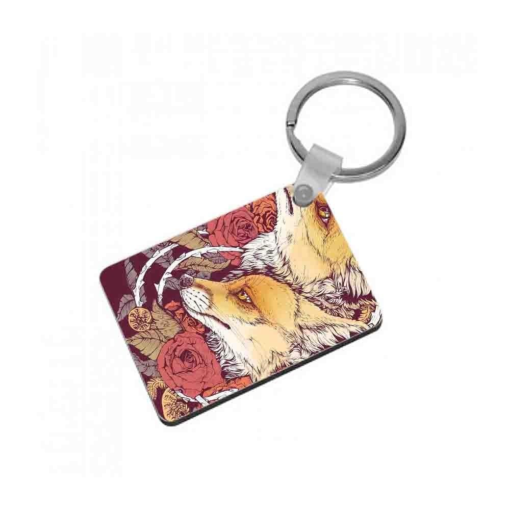 Red Fox Bloom Keyring - Fun Cases