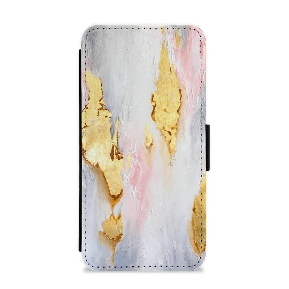 Gold Flaked Marble Pattern Flip / Wallet Phone Case - Fun Cases