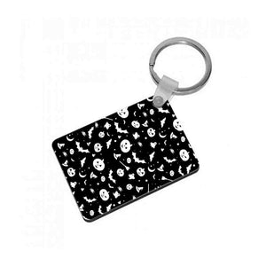 Black and White Halloween Pattern Keyring - Fun Cases