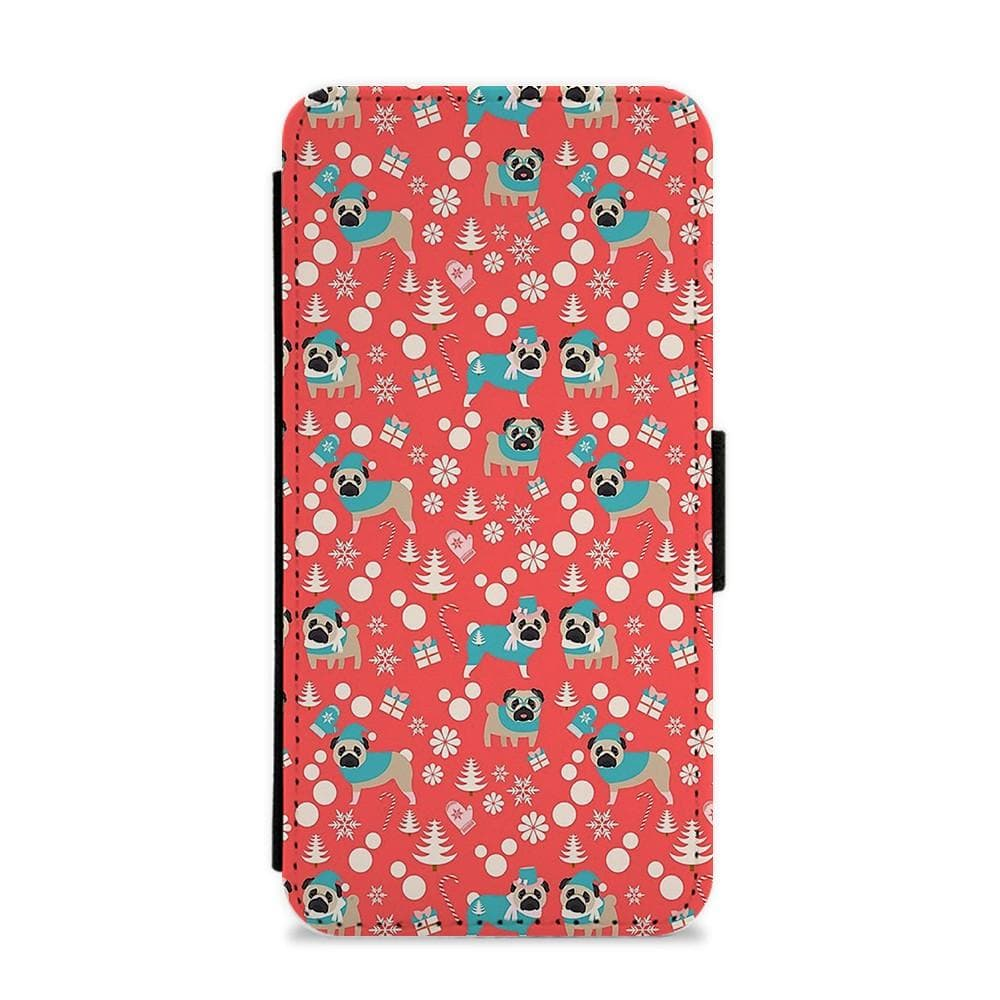 Christmas Pug Pattern Flip / Wallet Phone Case - Fun Cases