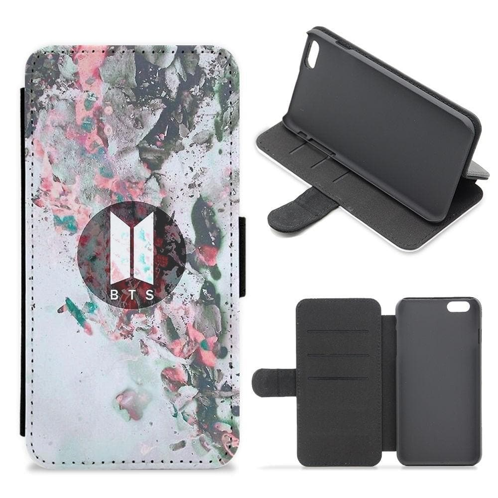 BTS Marble Logo Flip Wallet Phone Case - Fun Cases
