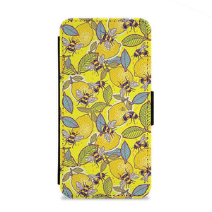 Yellow Lemon and Bee Flip Wallet Phone Case - Fun Cases