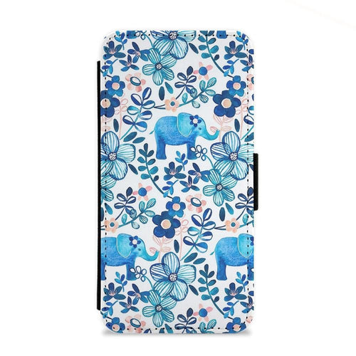 Elephant and Floral Pattern Flip Wallet Phone Case - Fun Cases