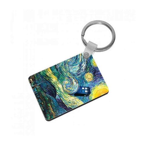 Starry Night Tardis - Doctor Who Keyring - Fun Cases