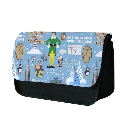 Blue Buddy The Elf Pattern Pencil Case