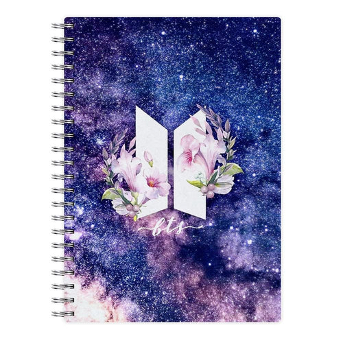 Galaxy Floral BTS Logo Notebook - Fun Cases