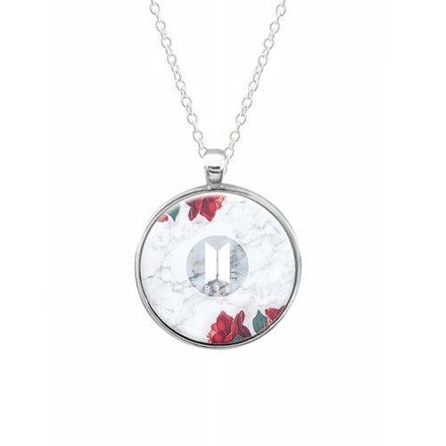 BTS Logo Marble Roses Keyring - Fun Cases