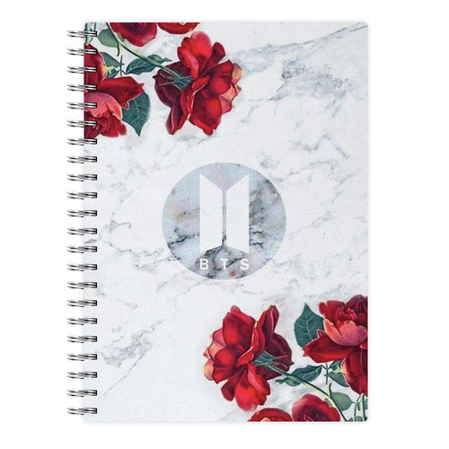 BTS Logo Marble Roses Notebook - Fun Cases