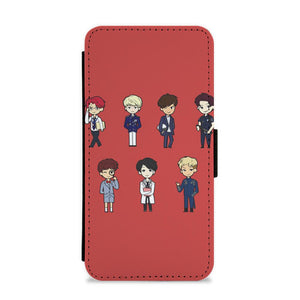 BTS Cartoons Flip / Wallet Phone Case