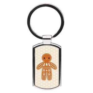 Christmas Jumper Pattern Gingerbread Man Luxury Keyring