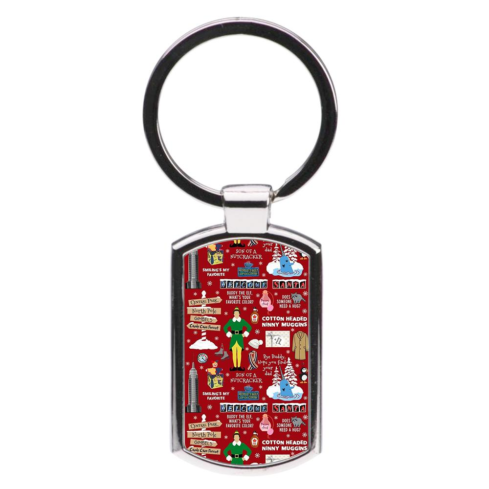 Red Buddy The Elf Pattern Luxury Keyring