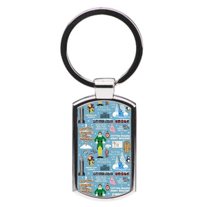 Blue Buddy The Elf Pattern Luxury Keyring