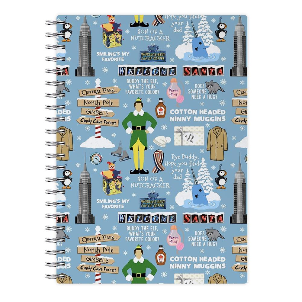 Blue Buddy The Elf Pattern Notebook