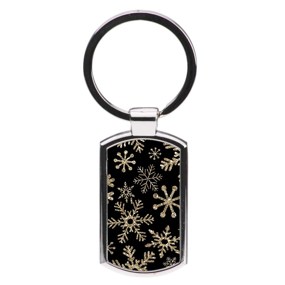 Gold Snowflake Pattern Luxury Keyring