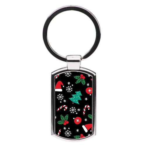 Christmas Objects Pattern Luxury Keyring