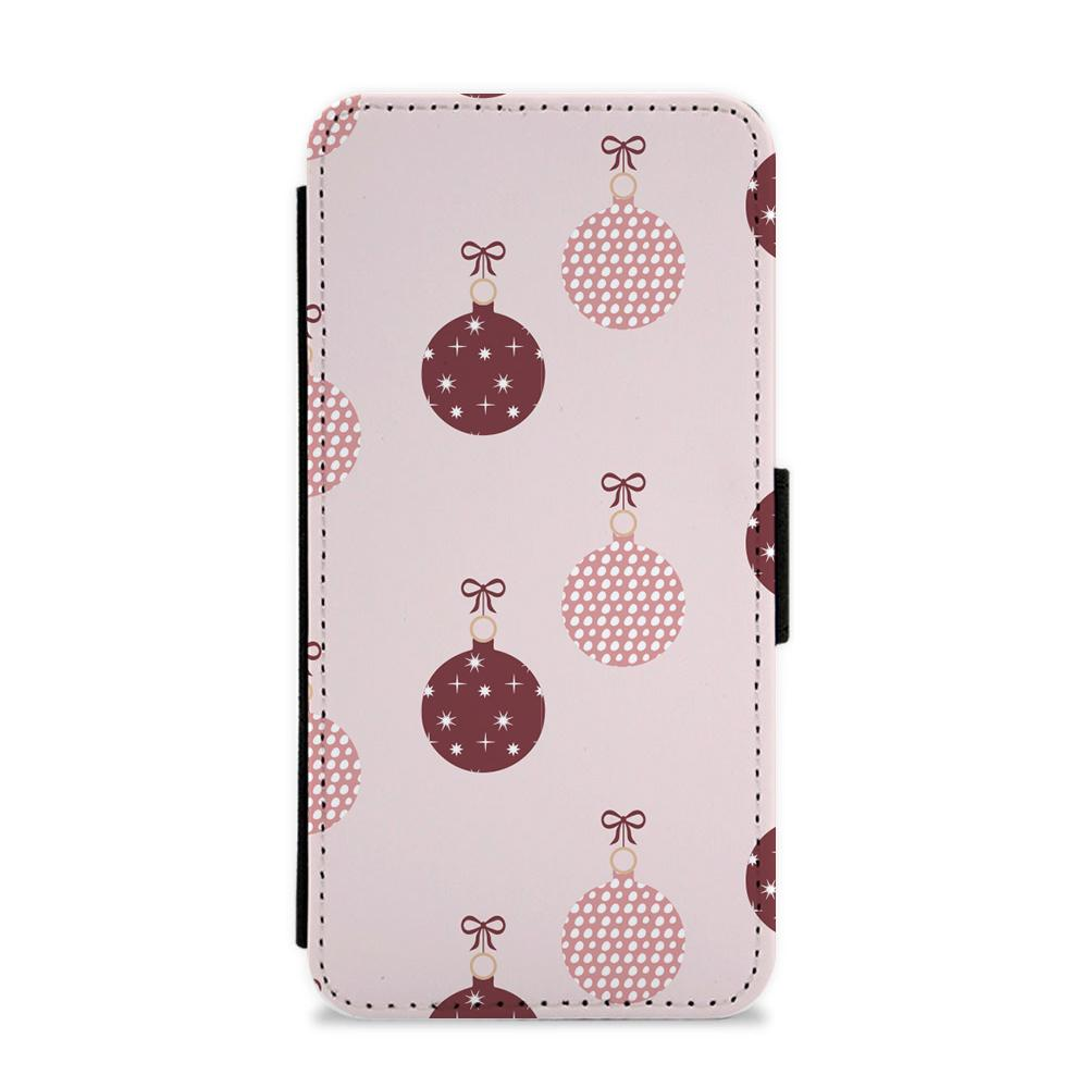 Christmas Bauble Pattern Flip / Wallet Phone Case