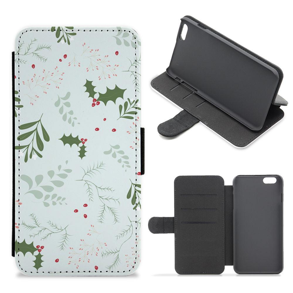 Christmas Floral Pattern Flip / Wallet Phone Case