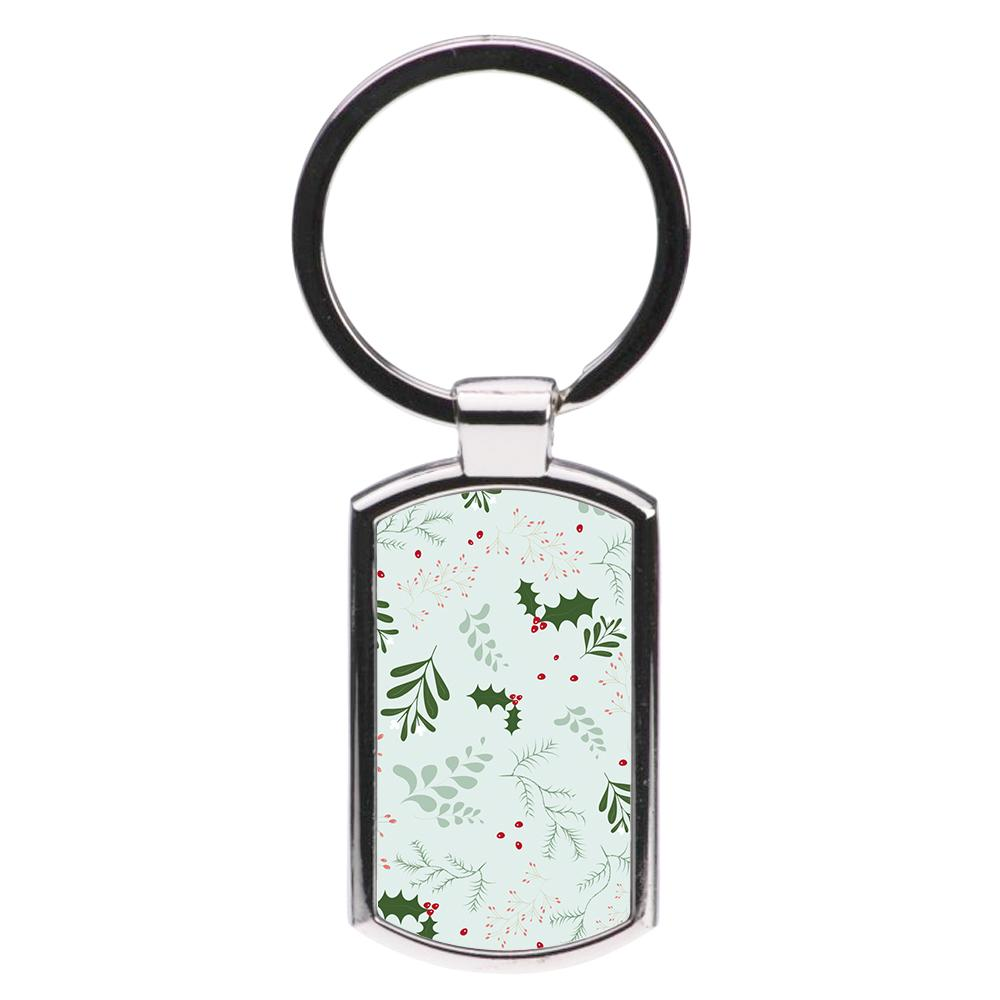 Christmas Floral Pattern Luxury Keyring