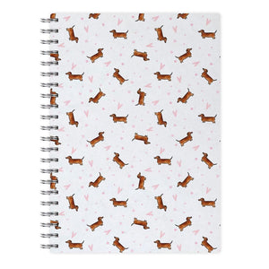 Dachshund Pattern - White Notebook - Fun Cases