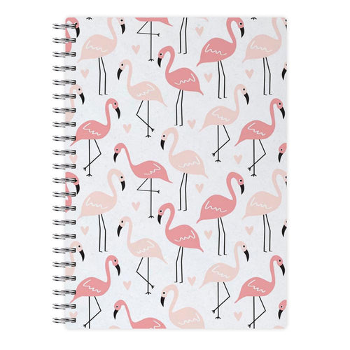 White & Pink Flamingo Pattern Notebook - Fun Cases