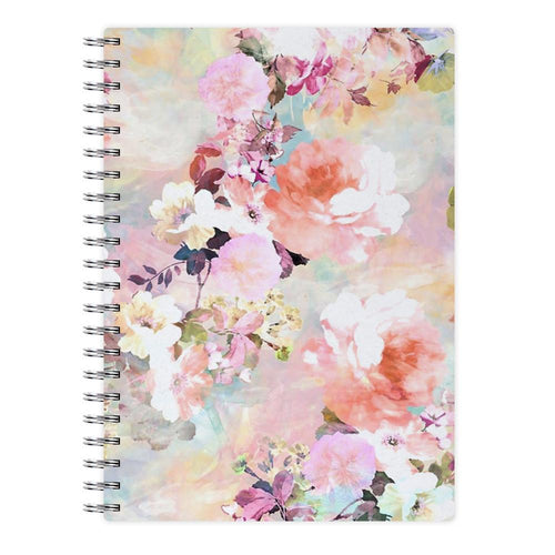Pastel Pink Floral Pattern Notebook - Fun Cases