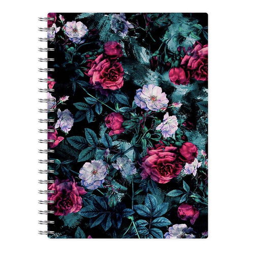 Black Floral Pattern Notebook - Fun Cases