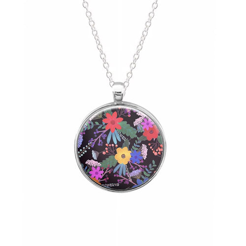 Black & Colourful Floral Pattern Keyring - Fun Cases